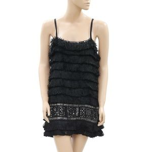 Zara Sequin Embellished Fringes Black Dress XS